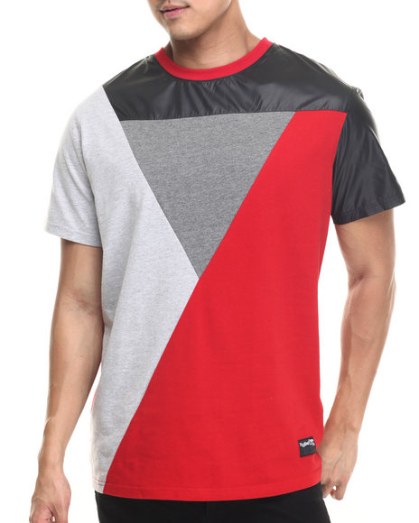 Ur-ID 220139 Rolling Paper - Men Red Nylon Mix Block T-Shirt