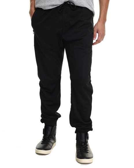 Basic Essentials - Men Black Dual - Layered Mesh Jogger Pants