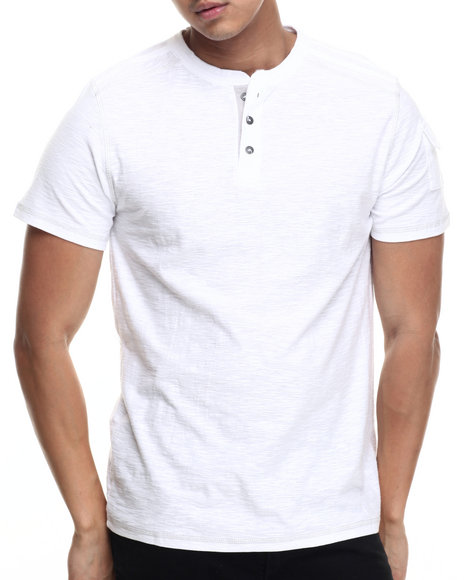 Buyers Picks - Men White S/S Boston Henley Tee - $12.99