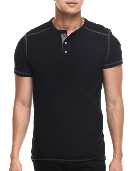 Buyers Picks - Men Black S/S Boston Henley Tee