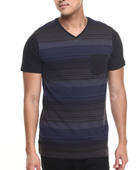 Buyers Picks - Men Navy Wings Stripe V-Neck Tee