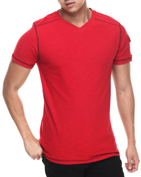 Buyers Picks - Men Red Modern V-Neck Tee
