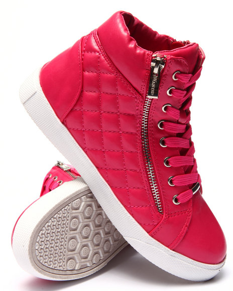 Fashion Lab - Women Pink Perry Quilted Side Zip High Top Sneaker
