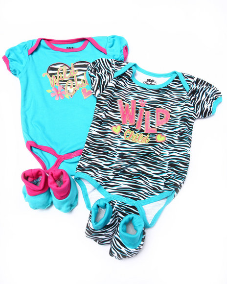 Duck Duck Goose Girls 4 Pc Wild Zebra Box Set (Newborn) Blue 0-6 Mo