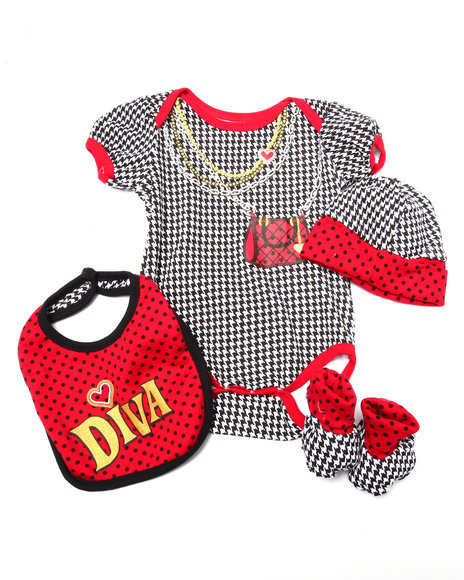 Duck Duck Goose Girls 4 Pc Houndstooth Box Set (Newborn) Red 0-6 Mo