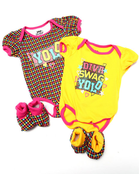 Duck Duck Goose Girls 4 Pc Yolo Box Set (Newborn) Yellow 0-6 Mo