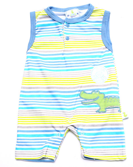 Duck Duck Goose - Boys Light Blue Later Gator Romper (Newborn)