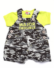 Sets - MAJOR TROUBLE CAMO SHORTALL SET (NEWBORN)