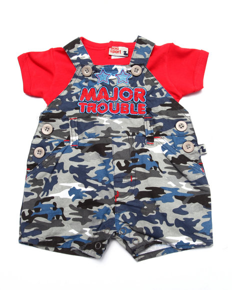 Duck Duck Goose - Boys Blue Major Trouble Camo Shortall Set (Newborn)
