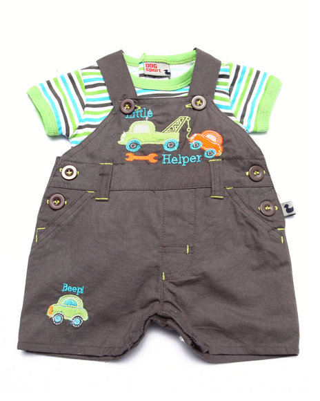 Duck Duck Goose - Boys Grey Lil' Helper Shortall Set (Newborn)
