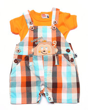 Sets - GINGHAM PALS SHORTALL SET (NEWBORN)