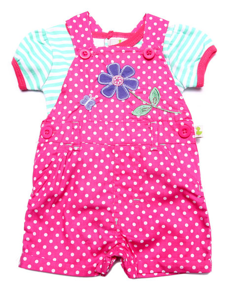 Duck Duck Goose - Girls Pink Polka Dot Shortall Set (Newborn)