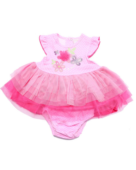 Duck Duck Goose - Girls Pink Flower Tulle Dress (Newborn)