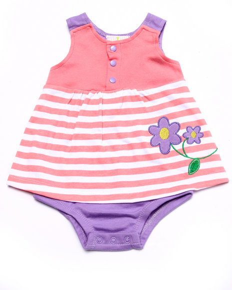 Duck Duck Goose - Girls Pink Striped Daisy Dress Bodysuit (Newborn)