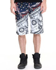 Men - Flag & Money Mesh Shorts