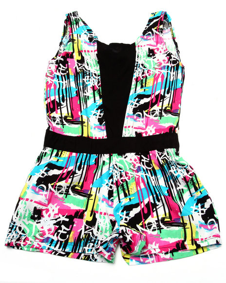 La Galleria - Girls Multi Graffiti Romper (4-6X)