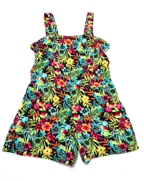 La Galleria - Girls Multi Hawaiian Romper (4-6X)
