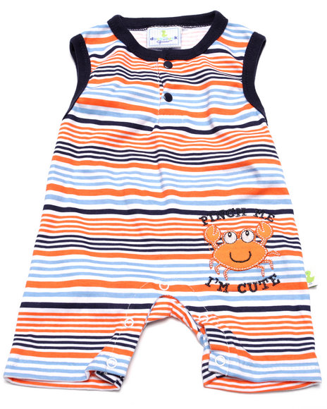 Duck Duck Goose - Boys Orange Pinch Me Romper (Newborn)