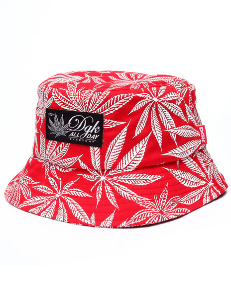 Ur-ID 223352 DGK - Men Red Cannabis Cup Bucket Hat