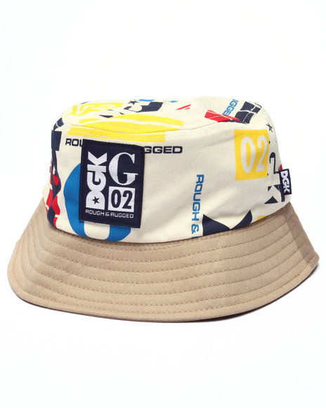 Ur-ID 223355 DGK - Men White Roughed & Rugged Reversible Bucket Hat