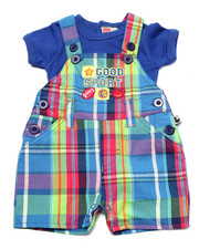 Boys - GOOD SPORT PLAID SHORTALL SET (NEWBORN)