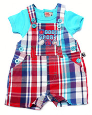 Sets - GOOD SPORT PLAID SHORTALL SET (NEWBORN)
