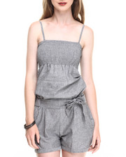 Women - Smocked Bust Chambray Romper