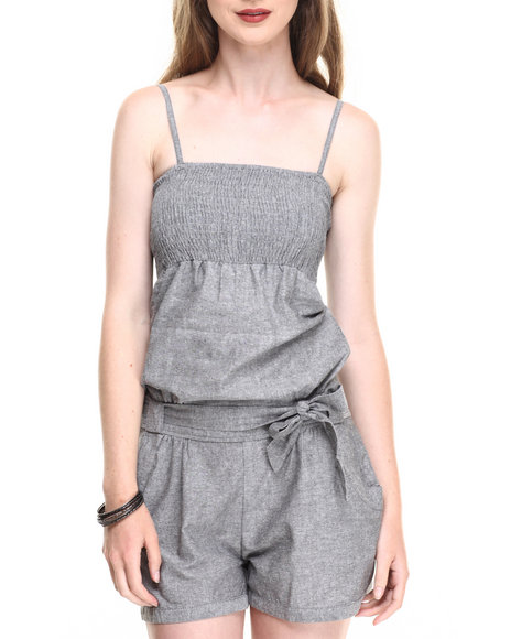 Ur-ID 220154 She's Cool - Women Grey Smocked Bust Chambray Romper