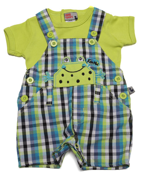Duck Duck Goose - Boys Lime Green Gingham Pals Shortall Set (Newborn)