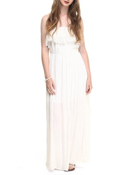 Ur-ID 220184 She's Cool - Women White Crochet Popover Gauze Tube Maxi
