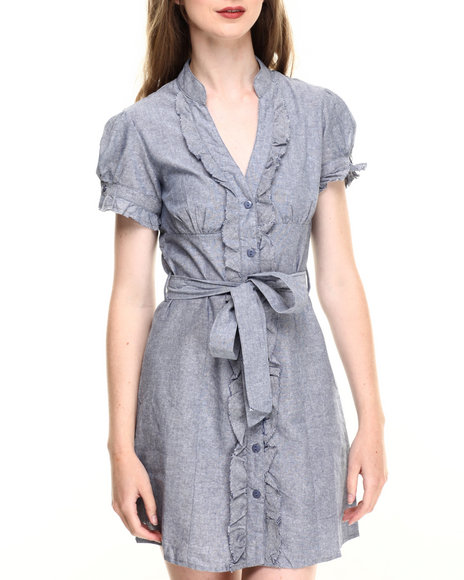 Ur-ID 220188 She's Cool - Women Blue Ruffle Trim Chambray Shirt Dress