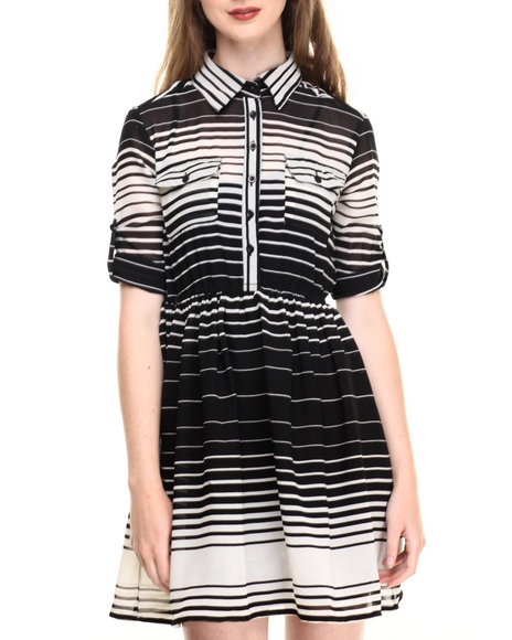 She's Cool - Women Black,Ivory Roll Sleeve Stripe Print Chiffon Shirt Dress