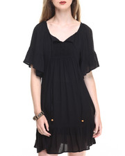 Women - Short Sleeve Gauze Bohemian Dress