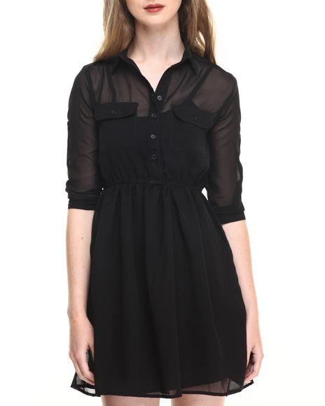 Ur-ID 220206 She's Cool - Women Black Roll Sleeve Chiffon Shirt Dress