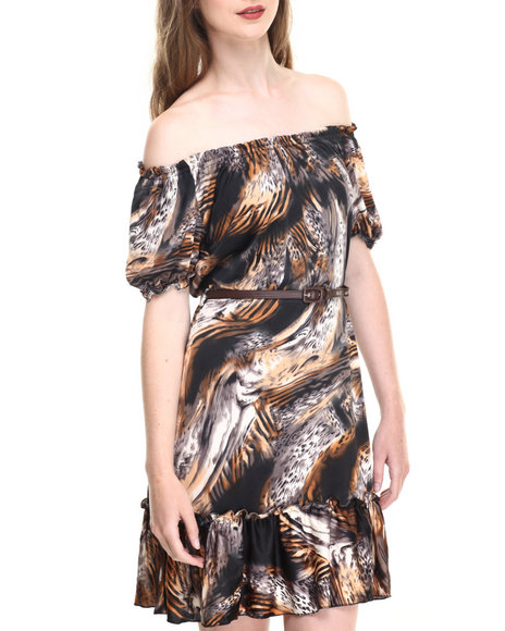 Shes Cool Women Animal Printed Tiered Belted Dress Brown Medium