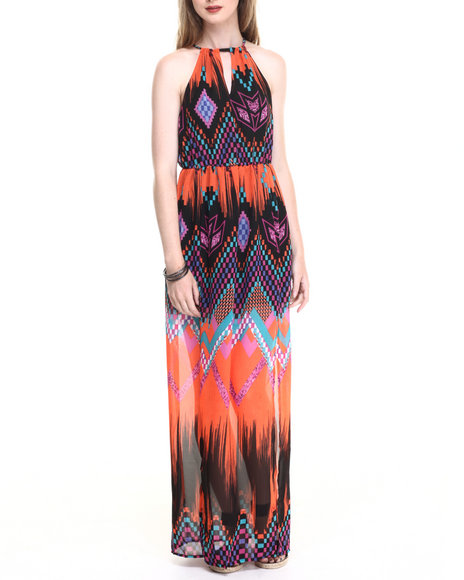 She's Cool - Women Orange Square Neck Maxi Dress