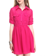 Dresses - Roll Sleeve Chiffon Shirt Dress