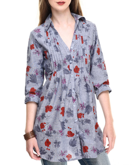 Ur-ID 220221 She's Cool - Women Light Wash Floral Printed 3/4 Sleeve Tunic Top