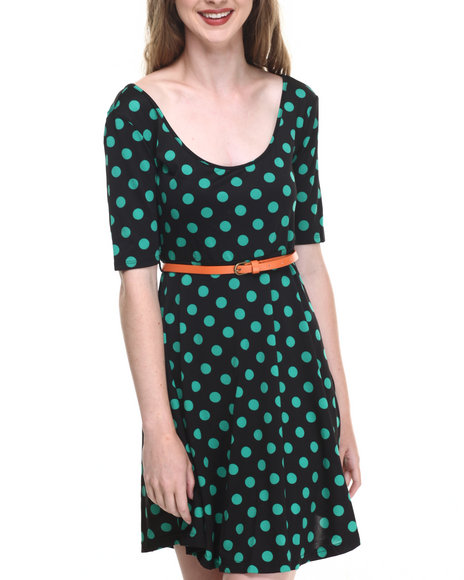 She's Cool - Women Black,Turquoise Polka Dot Scoop Neck Dress