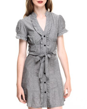 Dresses - Ruffle Trim Chambray Shirt Dress