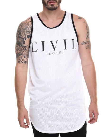 Ur-ID 220236 Civil - Men White 08 Ctd Mesh Drop Basketball Tank