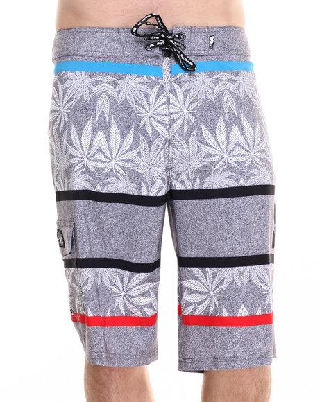 Ur-ID 220254 DGK - Men Grey Cannabis Cup Board Shorts