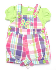 Sets - PLAID BUTTERFLY SHORTALL SET (NEWBORN)