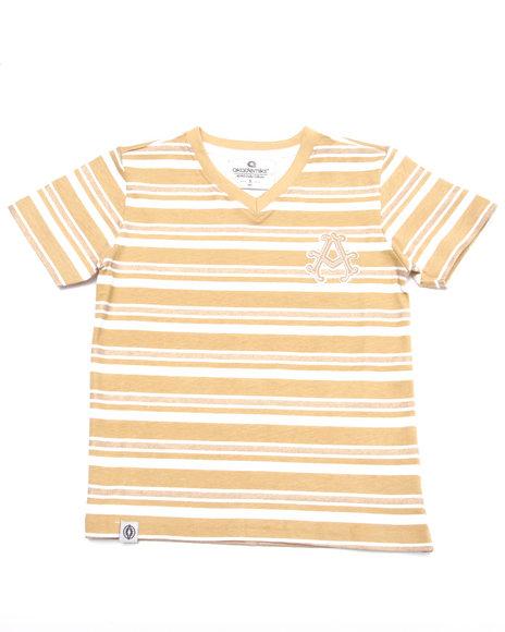 Akademiks - Boys Khaki Striped V-Neck Tee (4-7)