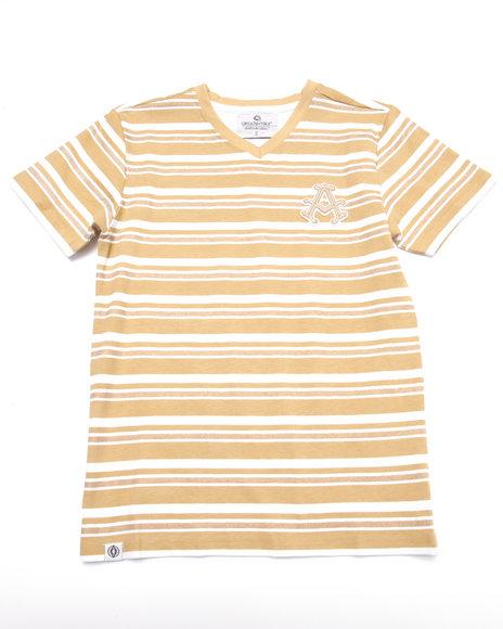 Akademiks - Boys Khaki Striped V-Neck Tee (8-20)