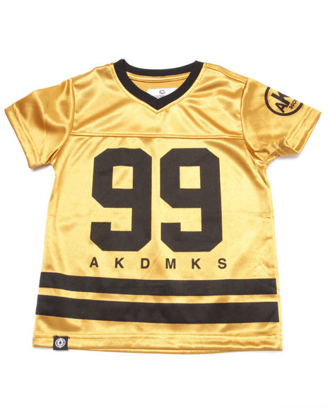 Akademiks - Boys Gold Metallic Jersey V-Neck Tee (4-7)