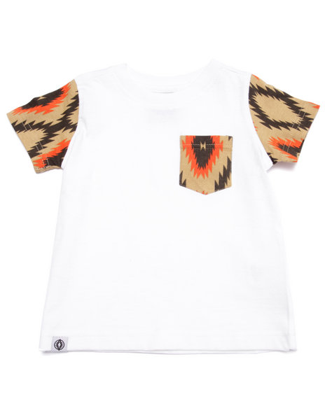Akademiks - Boys White Aztec Pocket Tee (2T-4T)