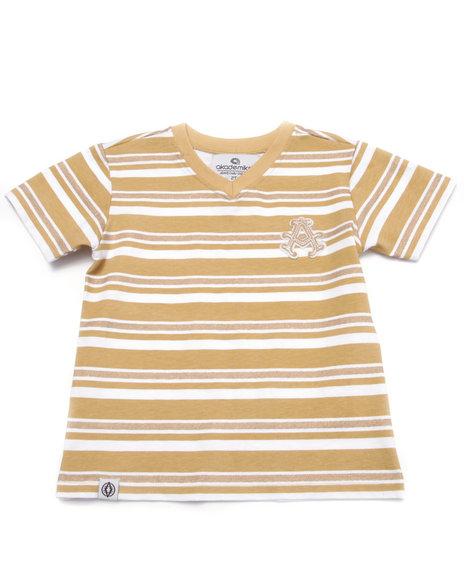 Akademiks - Boys Khaki Striped V-Neck Tee (2T-4T)