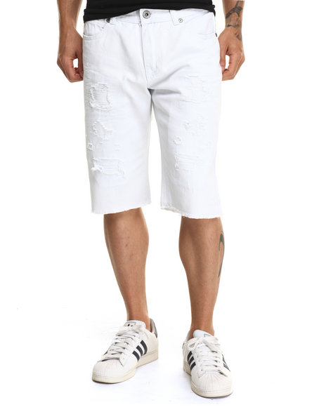 Buyers Picks - Men White Rip N Tear Washed Denim Shorts