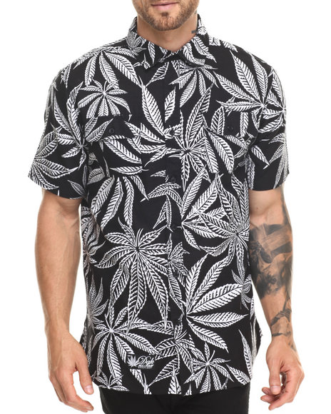 Dgk - Men Black Cannabis Cup Custom S/S Button-Down